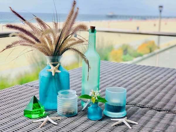 DIY Sea Glass bottles, votives and vases - horizontal