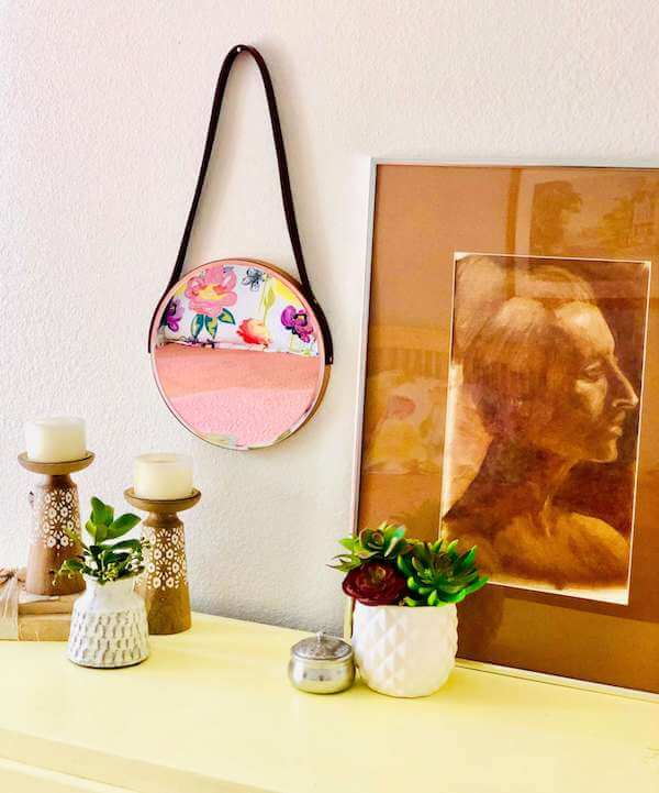 Leather strap hanging mirror - angle portrait mirror on left