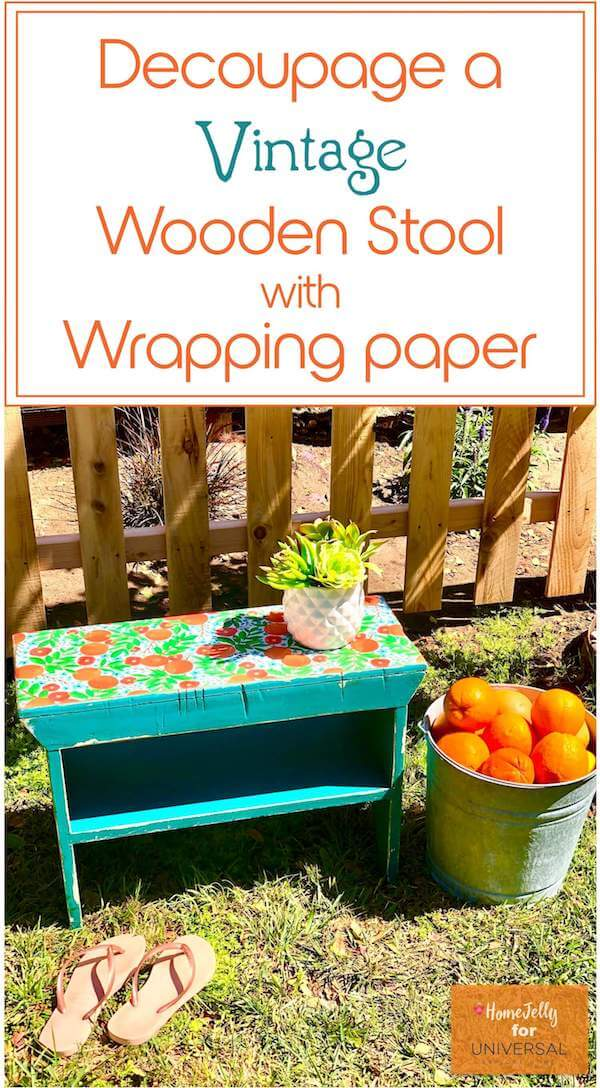 Decoupage a Vintage Wooden Stool with Wrapping Paper - Pinterest