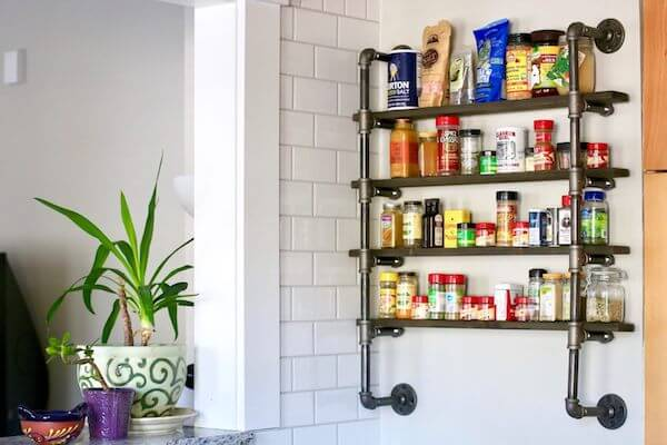 Industrial spice rack is so charming